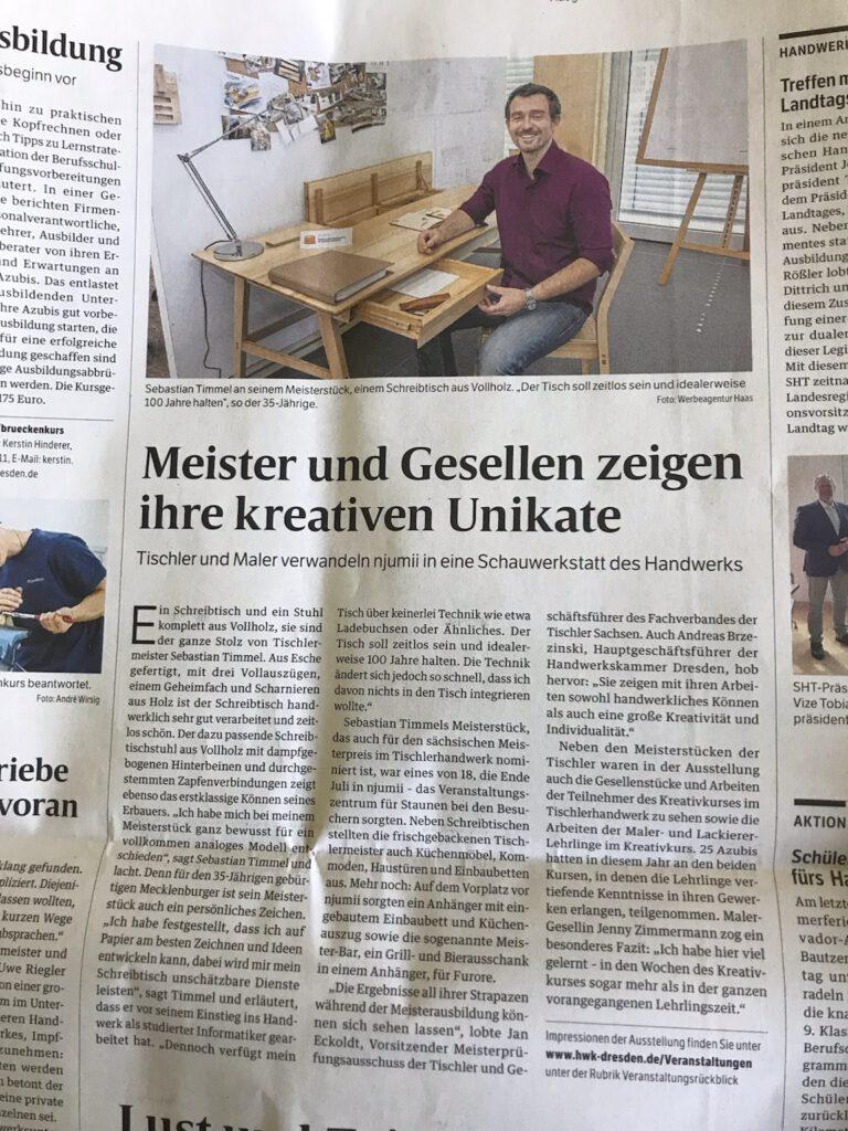 Deutsche Handwerkszeitung Sebastian Timmel Tischlermeister 2021 Dresden